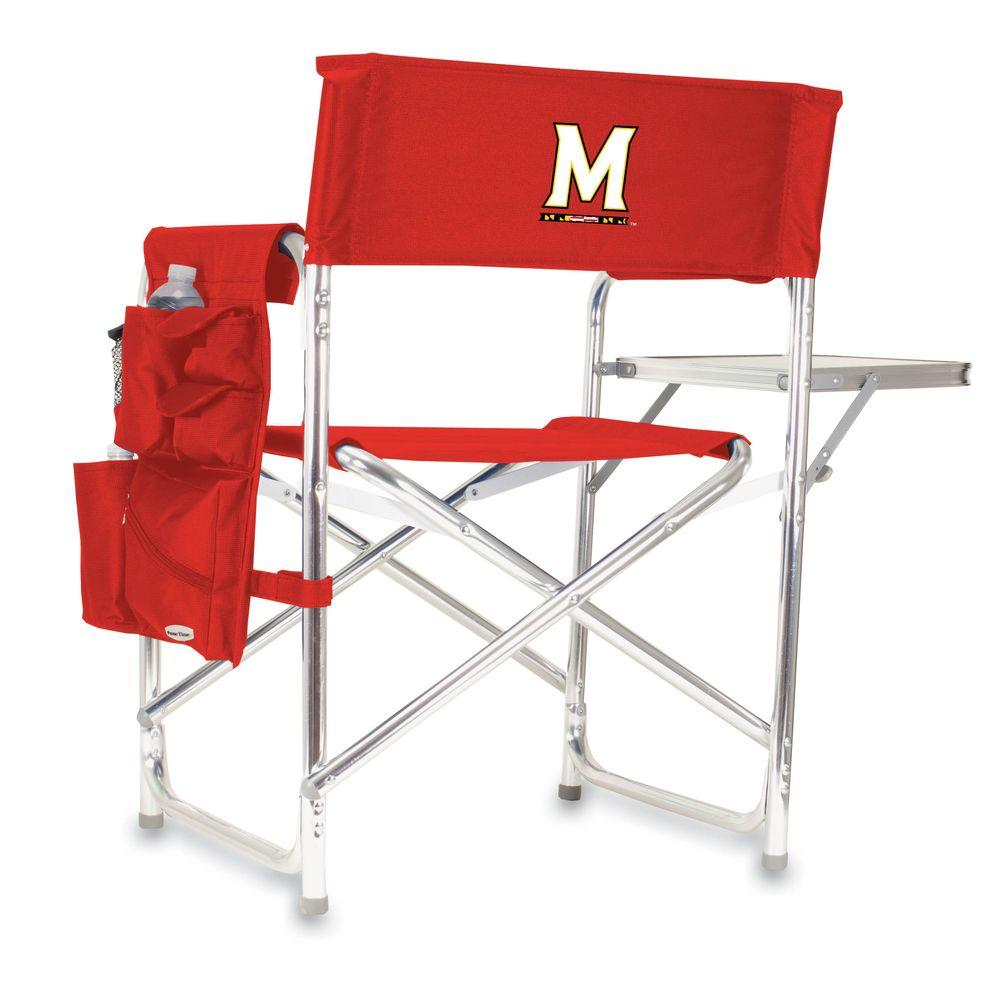 Picnic Time University of Maryland Red Sports Chair with Digital Logo