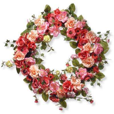 32 in. Mixed Rose Spring Wreath