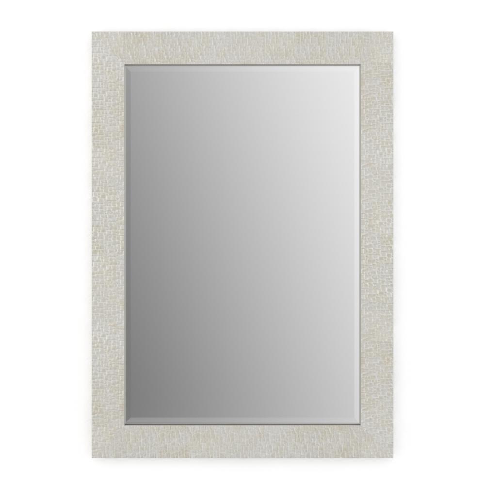 29 in. W x 41 in. H (M3) Framed Rectangular Deluxe Glass Bathroom Vanity Mirror in Stone Mosaic