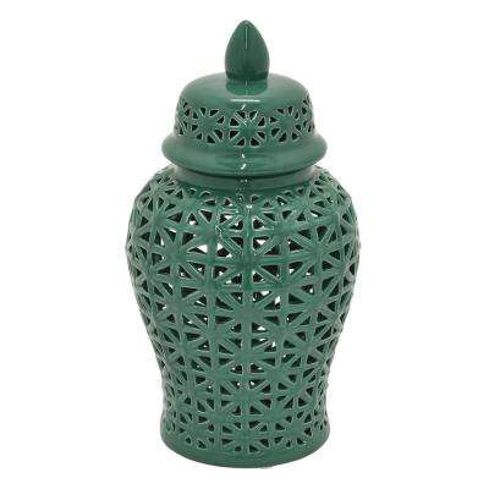 12 in. Green Lidded Ceramic Pierced Jar