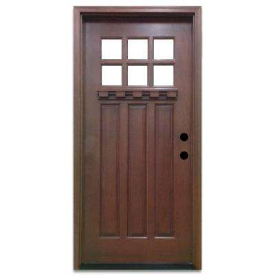 Craftsman 6 Lite Stained Mahogany Wood Prehung Front Door  Doors Exterior The Home Depot