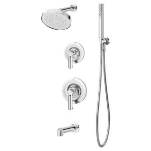 Museo 2-Handle Tub and 1-Spray Shower Trim with 2-Spray Hand Shower in Polished Chrome (Valve not Included)