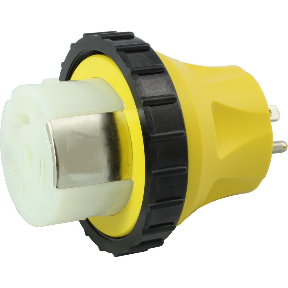 RV/Marine Adapter Regular Household 15 Amp Plug to 50 Amp RV/Marine Locking Female Connector