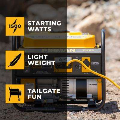 1500/1200-Watt Recoil Start Gas Portable Generator cETL and CARB Certified With 12V - 8.3A Charging Outlets