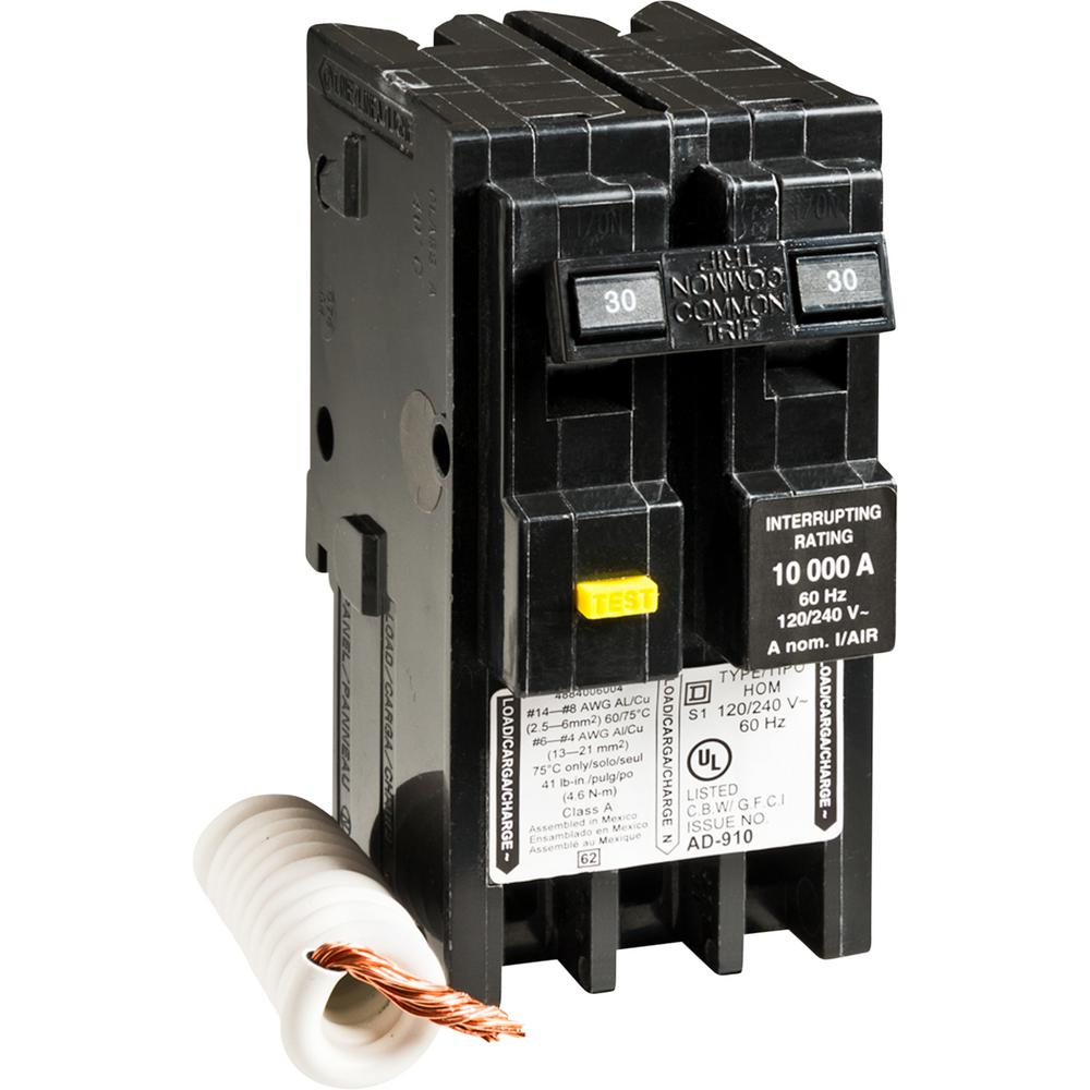 Admirable Square D Homeline 30 Amp 2 Pole Gfci Circuit Breaker Hom230Gfi The Wiring 101 Mecadwellnesstrialsorg
