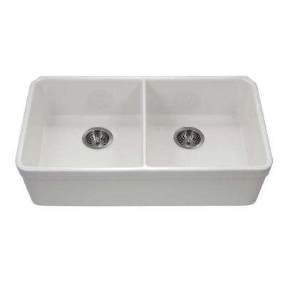 Platus Undermount Fireclay 32 in. 50/50 Double Bowl Kitchen Sink in White