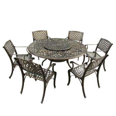 Contemporary Modern 7-Piece Bronze Aluminum Outdoor Dining Set with Lazy Susan and 6-Chairs