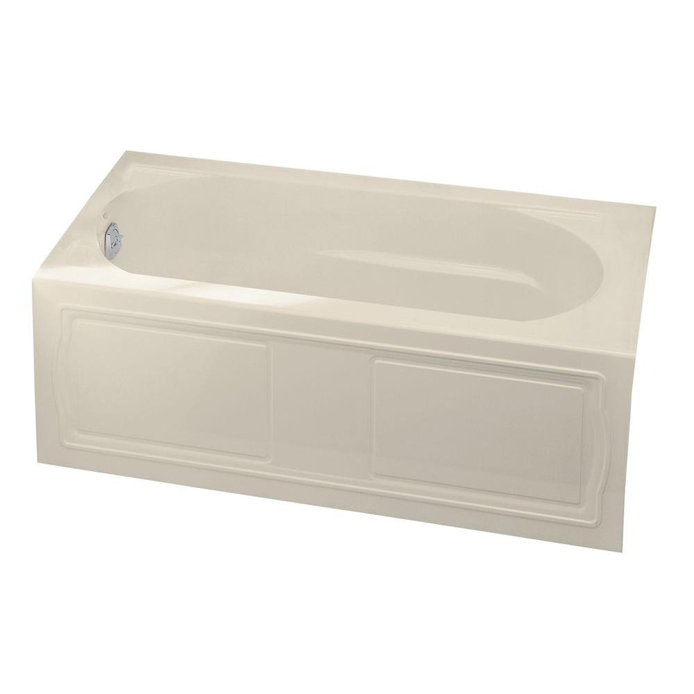 Acrylic Left Hand Drain With Integral Tile Flange Farmhouse Rectangular  Alcove Bathtub In Almond K 1184 LA 47   The Home Depot