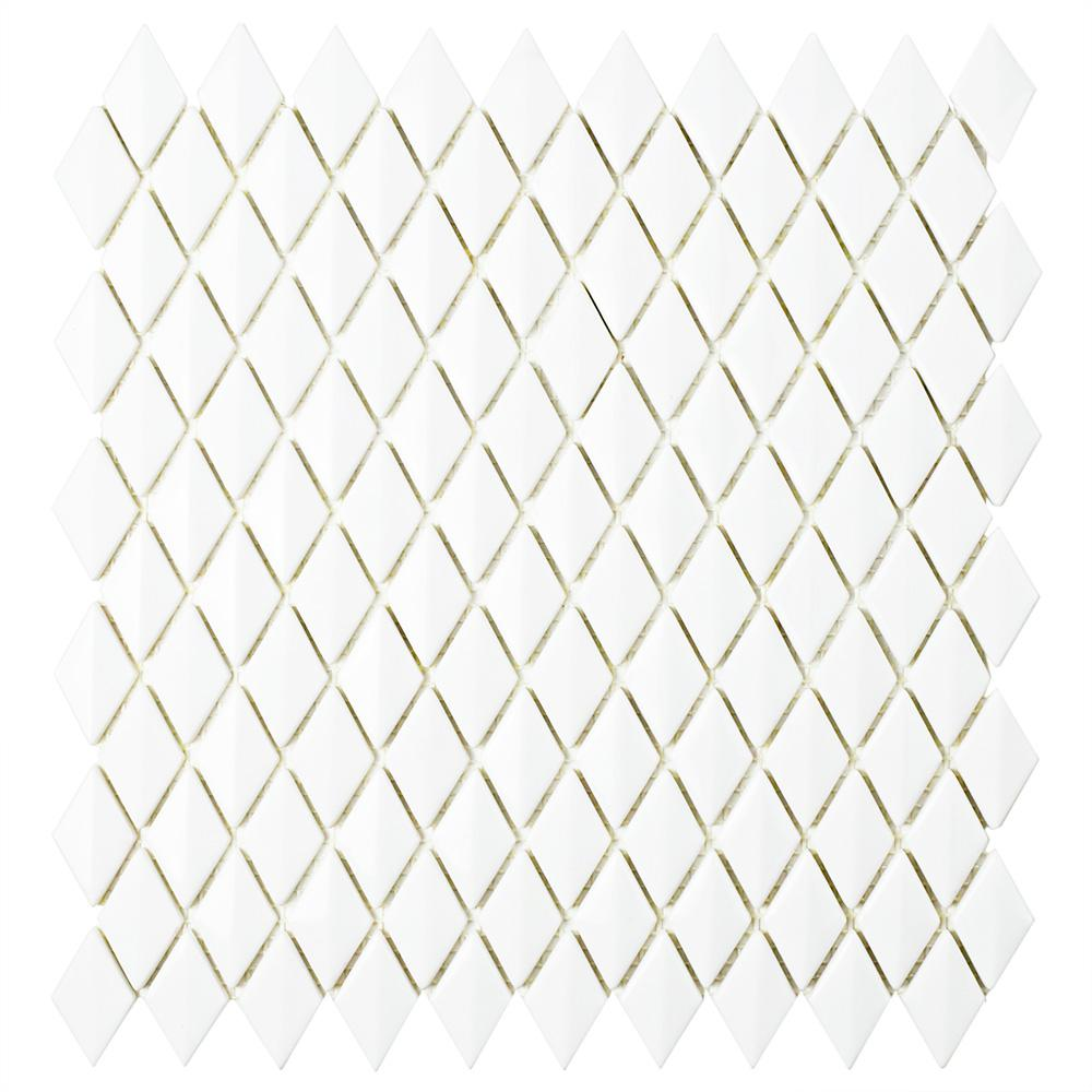 MerolaTile Merola Tile Expressions Beveled Diamond White 11-5/8 in. x 12 in. x 7 mm Glass Mosaic Tile, White / Mixed Finish