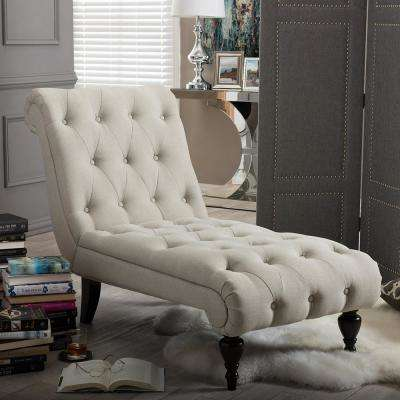 Layla Traditional Beige Fabric Upholstered Chaise