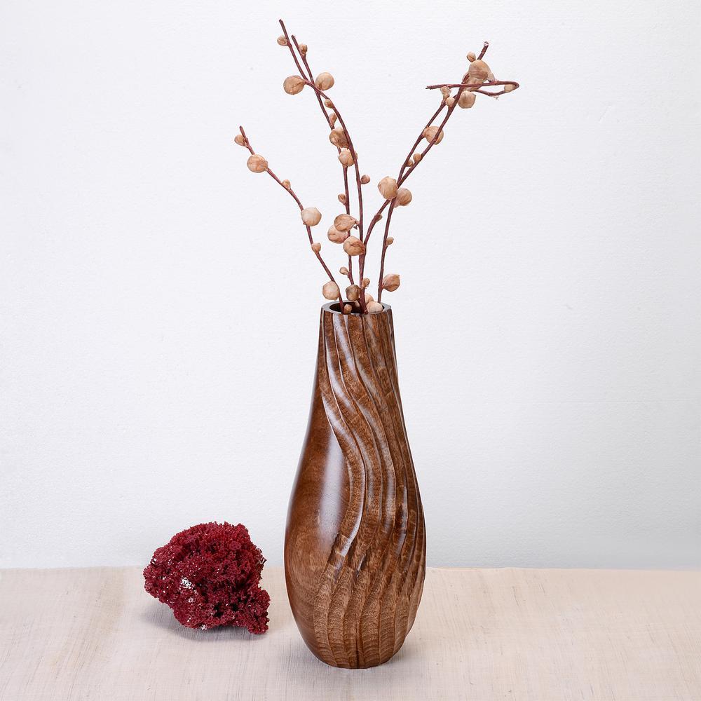 15 in. Tall Handmade Decorative Tear Drop Mango Wood Swirl Bottle Vase in Brown