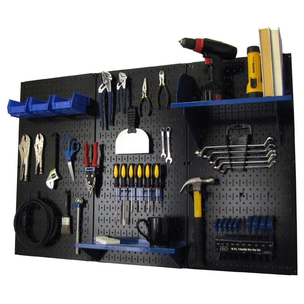 Wall Control 32 in. x 48 in. Metal Pegboard Standard Tool Storage Kit with Black Pegboard and Blue Peg Accessories