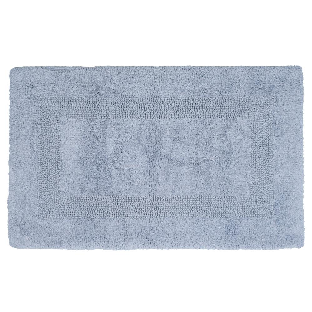 Lavish Home 24 in. x 43 in. Cotton Reversible Bath Mat in Silver