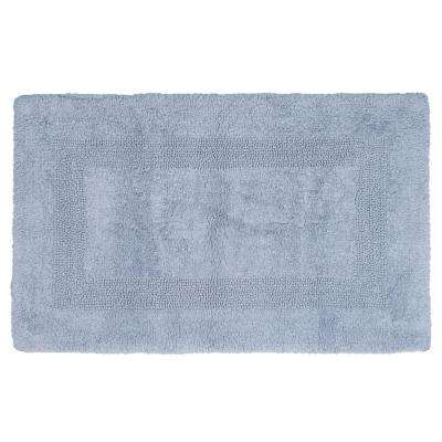 24 in. x 43 in. Cotton Reversible Bath Mat in Silver