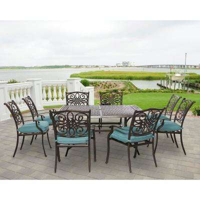 Hanover Patio Traditions Bronze 9-Piece Aluminum Square Outdoor Dining Set with Blue Cushions