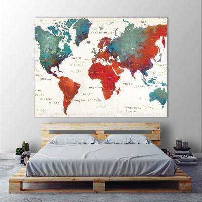 "54 in. x 72 in. ""Colorful World I"" by James Wiens Printed Framed Canvas Wall Art"