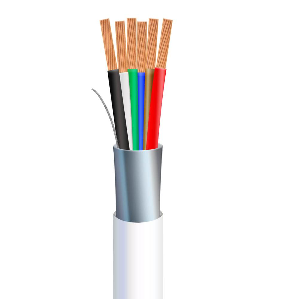 Syston Cable Technology 1 000 Ft 18 6 White Stranded Shielded Cl3r Riser Security Cable 5727 Pb Wh 1000 The Home Depot