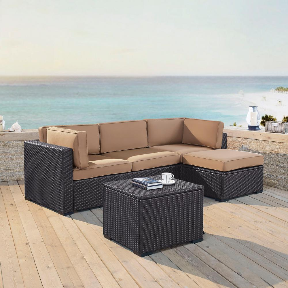 Crosley Biscayne 4 Person Wicker Outdoor Seating Set With Mocha Cushions 1 Loveseat Corner Chair Ottoman Coffee Table