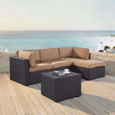 Biscayne 4-Person Wicker Outdoor Seating Set with Mocha Cushions - 1 Loveseat, 1 Corner Chair, Ottoman, Coffee Table
