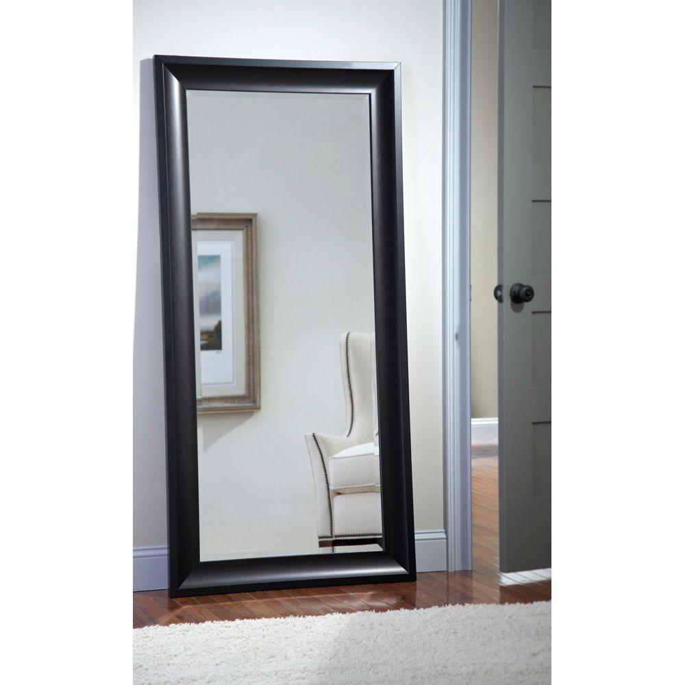 Martha Stewart Living Champlain 66 In X 32 Black Coffee Framed Leaner Mirror 71906 The Home Depot