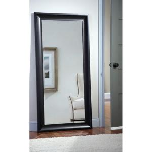 Oversized Dark Espresso Plastic Hooks Beveled Glass Classic Mirror (65.88 in. H X 32.0 in. W)