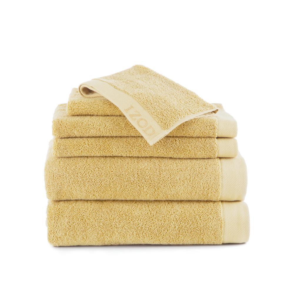 IZOD Classic 6-Piece Cotton Bath Towel Set in Lemon 079465022575