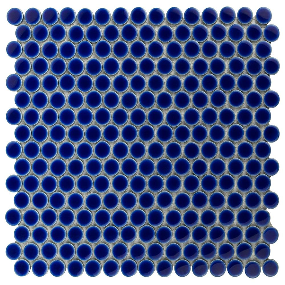 Somertile x12 in Penny 3/4 in Cobalt Blue Porcelain Mosaic Tile (Pack of 10) (White Porcelain)