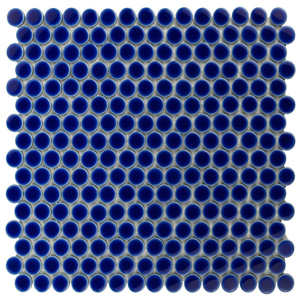 Hudson Penny Round Cobalt 12 in. x 12-5/8 in. x 5 mm Porcelain Mosaic Tile (10.74 sq. ft. / case)