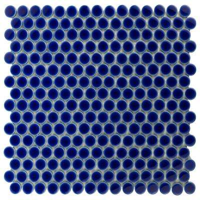 Hudson Penny Round Cobalt 12 in. x 12-5/8 in. x 5 mm Porcelain Mosaic Tile (10.2 sq. ft. / case)