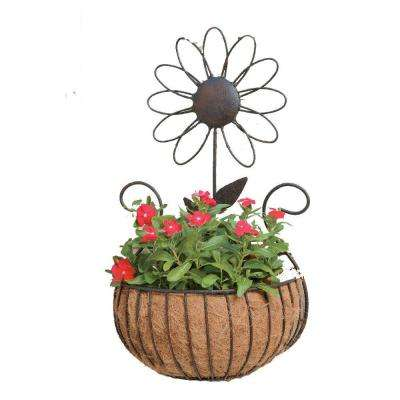 Metal Daisy Wall Basket with Coco Liner
