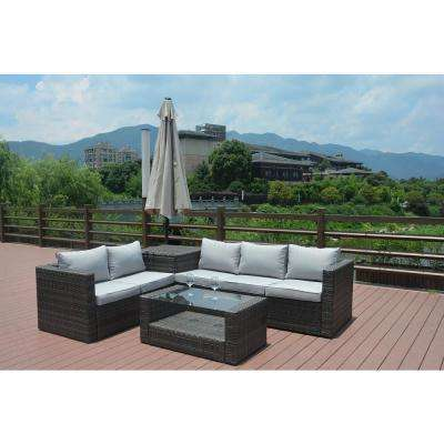 Vanellope 4-Piece Wicker Patio Conversation Set with Grey Cushions