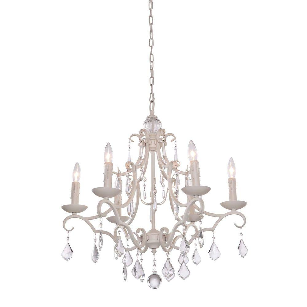 Vieira 6-Light Antique White Chandelier - Vieira 6-Light Antique White Chandelier-CLI-ACG157650 - The Home Depot