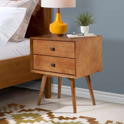 Mid Century Modern Contemporary Transitional 2-Drawer Solid Wood Caramel Night Stand