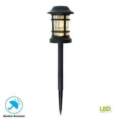 Low-Voltage Black Outdoor Integrated LED Landscape Path Light with Ribbed Glass Lens
