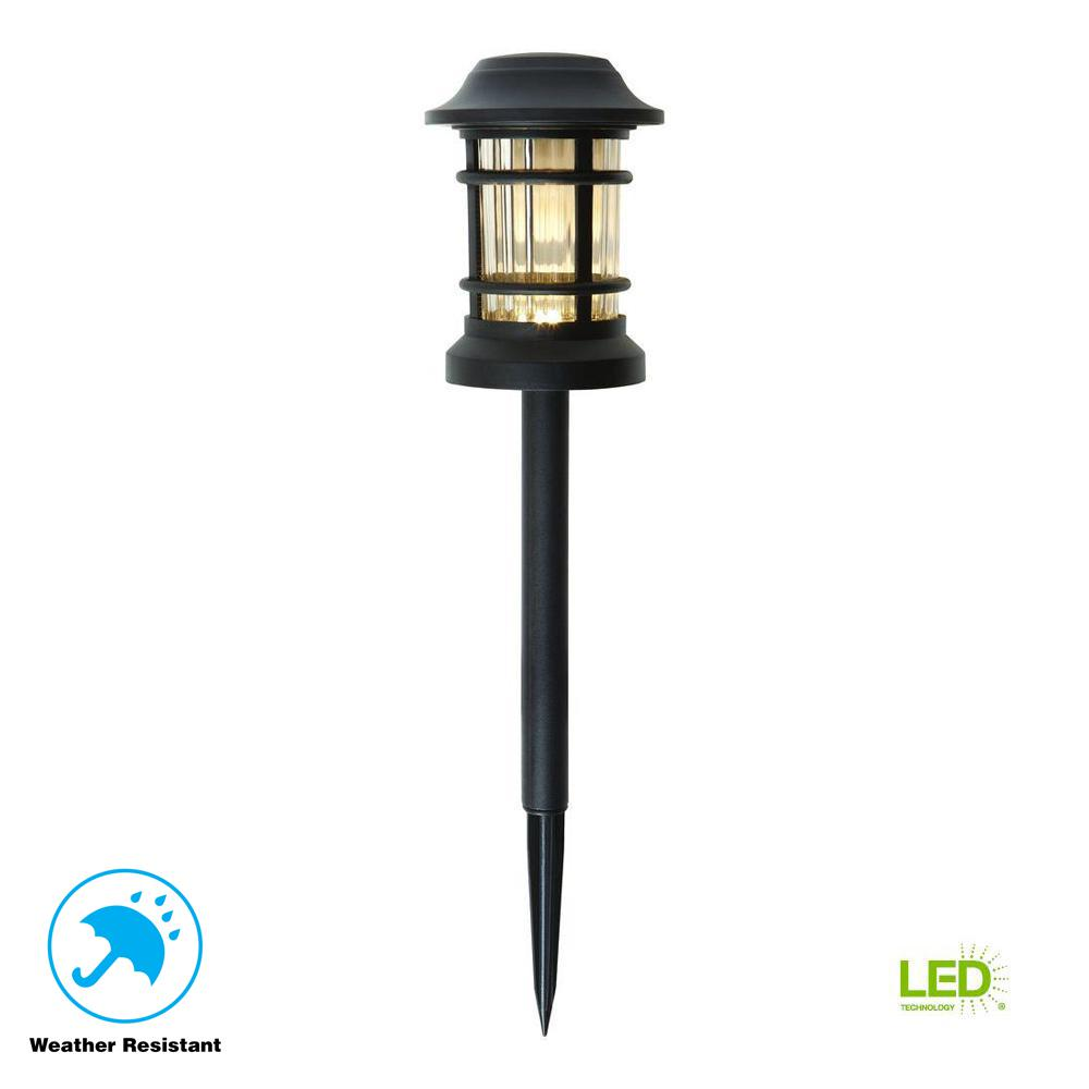 Low-Voltage Black Outdoor Integrated LED Landscape Path Light with Ribbed Glass