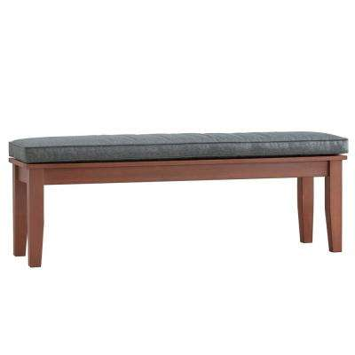 Verdon Gorge 55 in. Oiled Wood Outdoor Bench with Grey Cushion