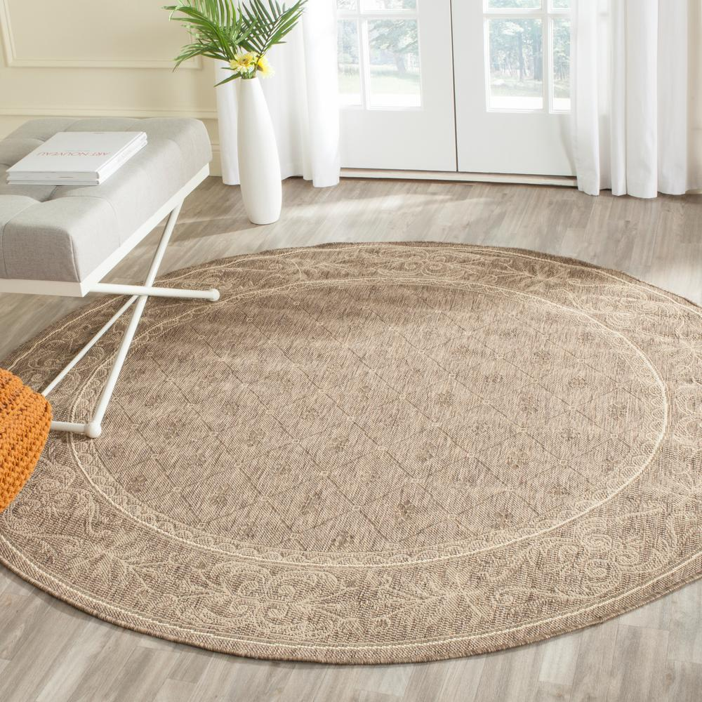 safavieh courtyard brown natural 7 ft x 7 ft indoor outdoor round area rug cy2326 3009 7r. Black Bedroom Furniture Sets. Home Design Ideas