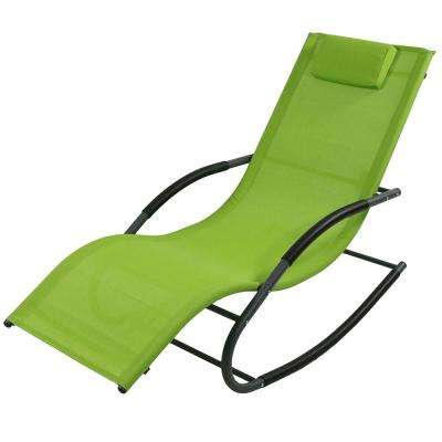 Green Rocking Wave Sling Outdoor Lounge Chair with Pillow