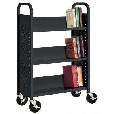 32 in. W x 14 in. D x 46 in. H Single Sided 3-Sloped Shelf Booktruck in Black