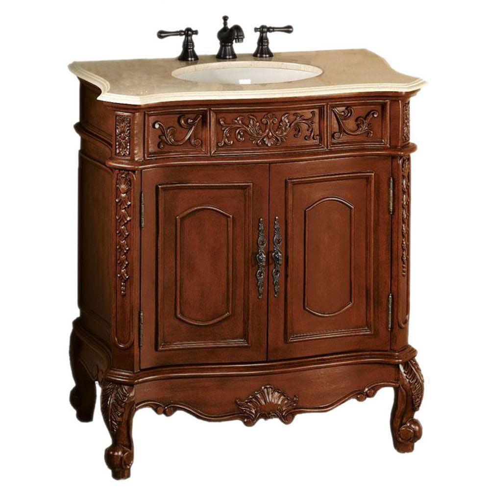 Home Decorators Collection Winslow 33 in. W x 20.5 in. D Vanity in Antique Cherry with Granite Vanity Top in Cream