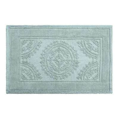 Cotton Stonewash Medallion 17 in. x 24 in. Bath Rug in Marine Blue