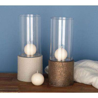 Clear Glass Hurricane Candle Holder with Brown Wooden Base