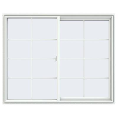 59.5 in. x 47.5 in. V-2500 Series White Vinyl Right-Handed Sliding Window with Colonial Grids/Grilles
