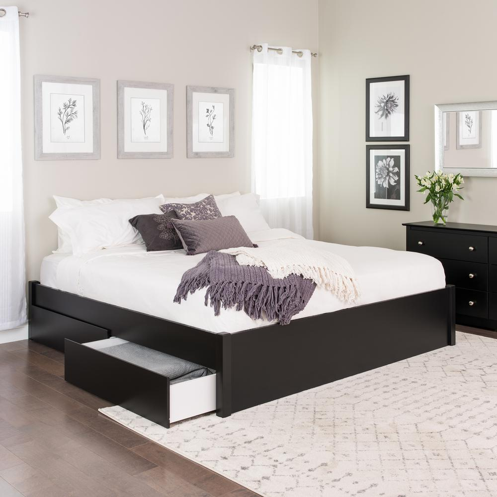 Prepac Select Black King 4 Post Platform Bed With 4 Drawers Bbsk