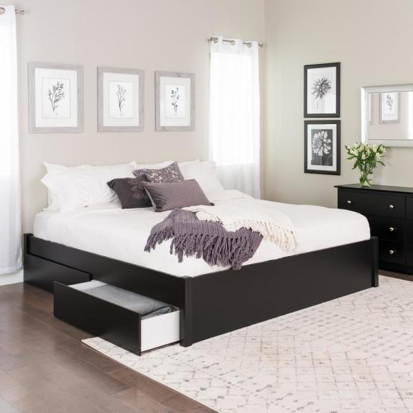 Prepac Select Black King 4-Post Platform Bed with 4-Drawers BBSK-1302-4K
