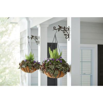 9.96 in. x 1.02 in. x 8.66 in. Coffee Brown Iron Deco Plant Bracket with Bird