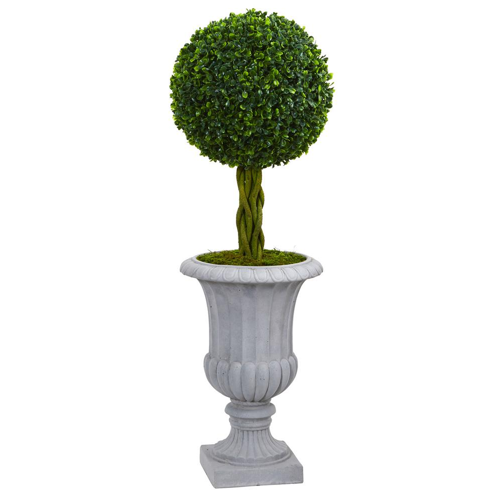 Nearly Natural 3 Ft High Indoor Outdoor Braided Boxwood Topiary Artificial Tree In Gray Urn 5891 The Home Depot