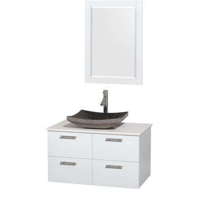 Amare 36 in. Vanity in Glossy White with Solid-Surface Vanity Top in White, Granite Sink and 24 in. Mirror