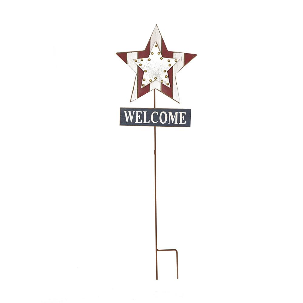 35.91 in. H Patriotic Galvanized Wooden Studded Star Yard...