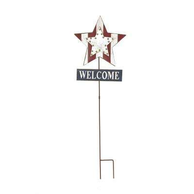 35.91 in. H Patriotic Galvanized Wooden Studded Star Yard Stake